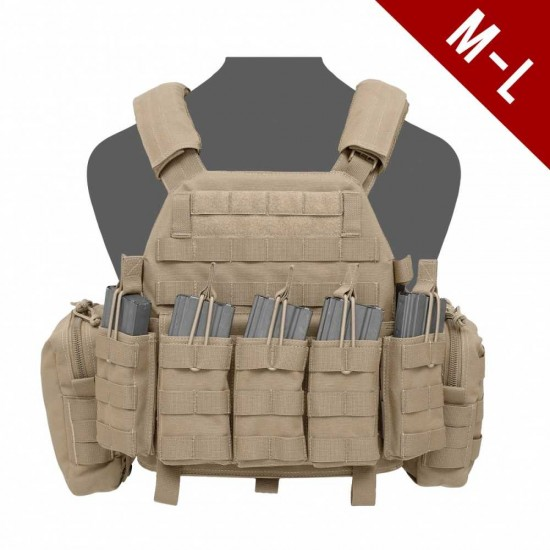 Warrior Assault Systems DCS Base Large With Open Top Pouches Coyote Tan